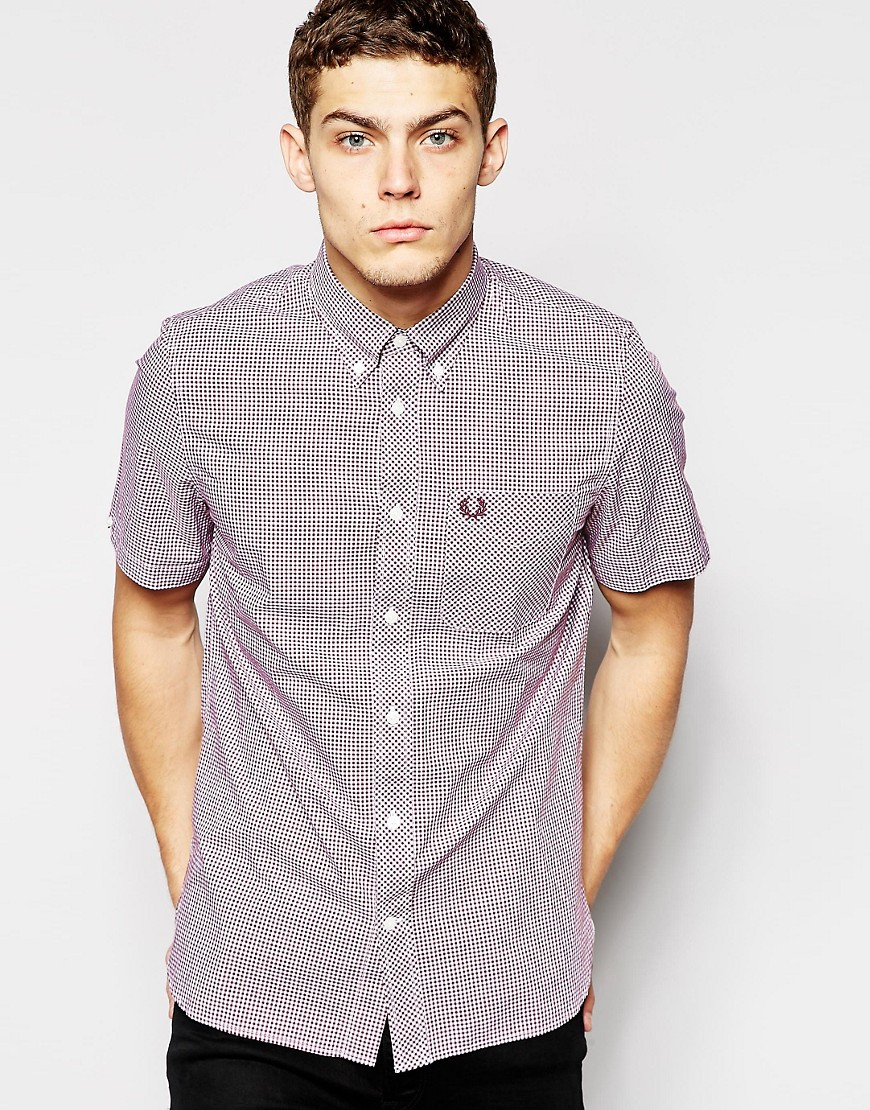 Fred perry shirt in slim fit gingham check short sleeves for Slim fit gingham check shirt