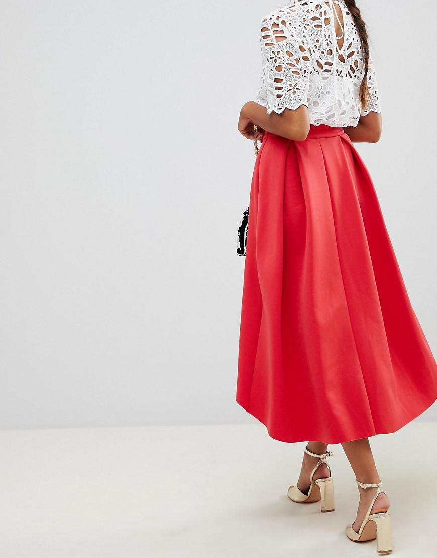 9c4238ba7d3e58 ASOS Midi Scuba Prom Skirt With Bow Front in Red - Lyst