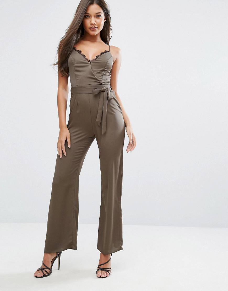 71e0ec8616d9 Lyst - Lipsy Michelle Keegan Loves Satin Jumpsuit With Lace Insert ...