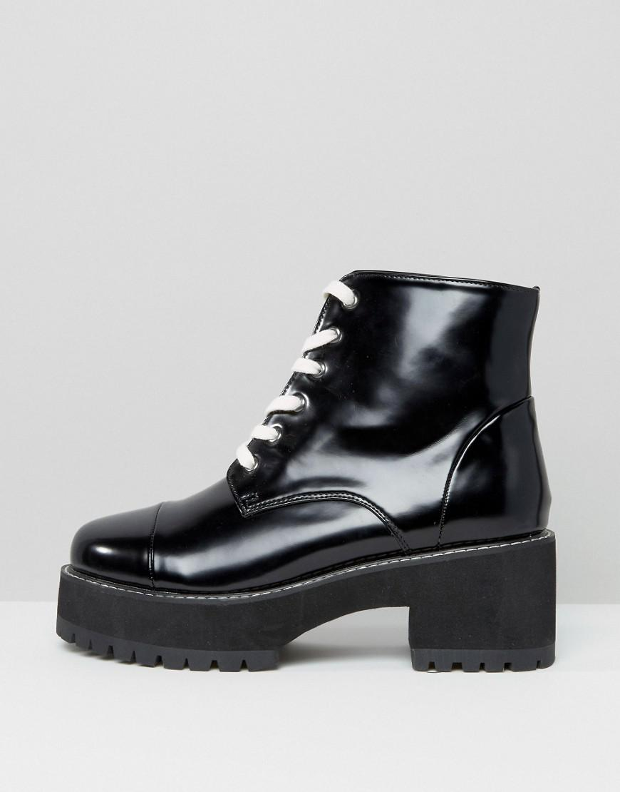 09826a6d7 ASOS Rue Chunky Lace Up Boots in Black - Lyst