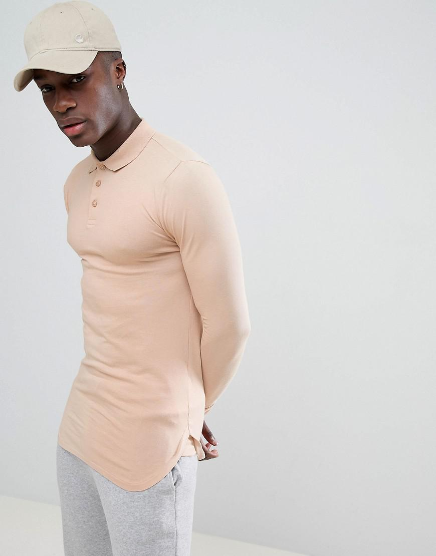 ef7a8488 ASOS. Men's Natural Longline Muscle Fit Jersey Polo With Bound Curved Hem  ...