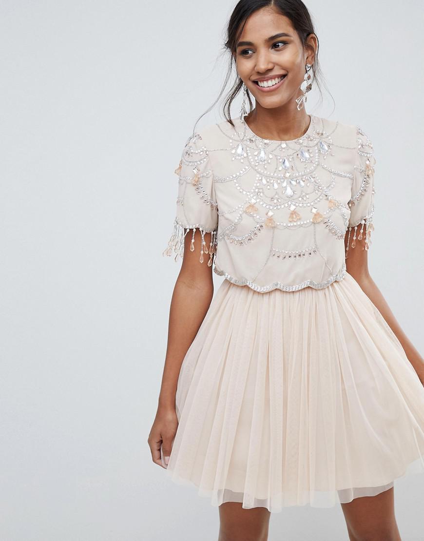 2b55939d848 ASOS Crop Top Fringe Embellishment Tulle Mini Dress in Natural - Lyst