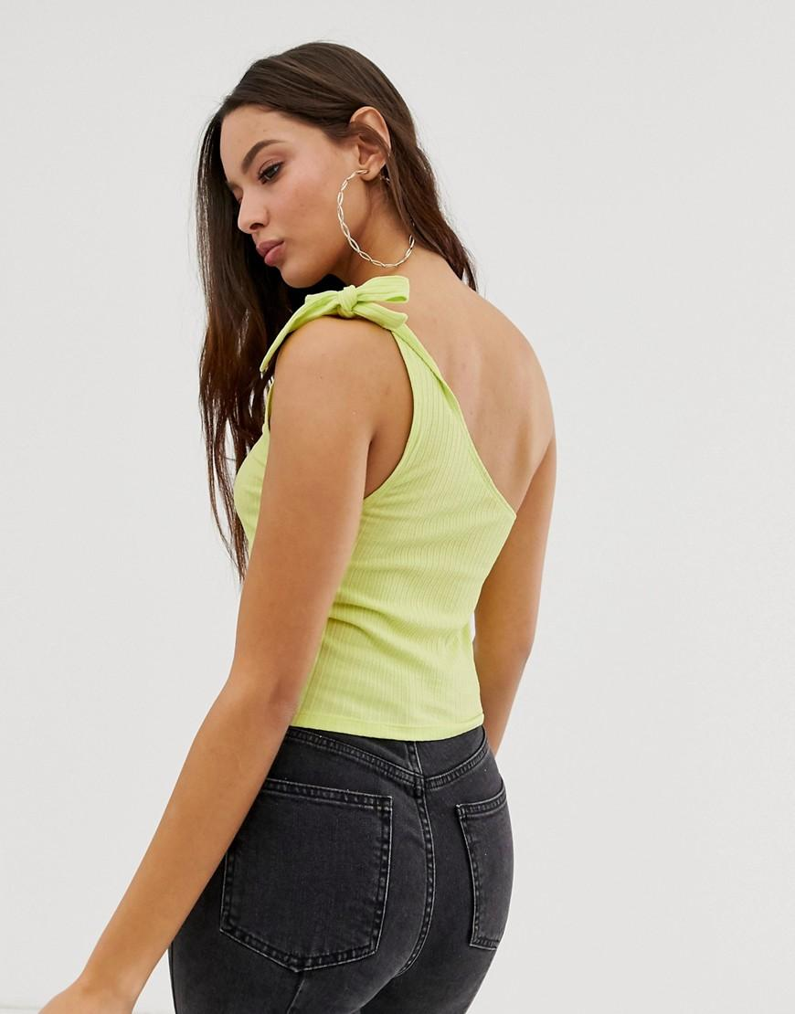 104c360f4ba Lyst - ASOS One Shoulder Top In Rib In Washed Neon in Green