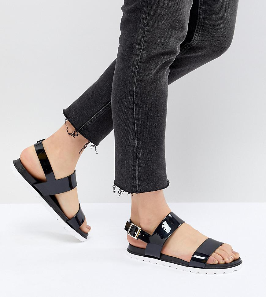 26bc3511866e62 London Rebel Jelly Flat Sandals in Black - Lyst