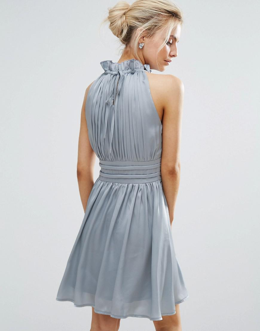 Lyst - Little Mistress Ruched Pleated Mini Prom Skater Dress in Blue