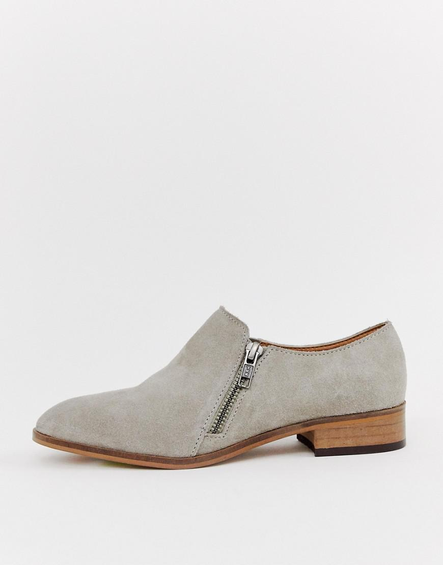 948329ec6b0e Lyst - Asos Moorgate Suede Slip On Flat Shoes in Natural