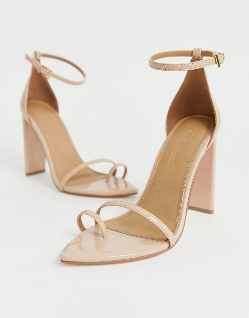 0e65f8477ace Lyst - ASOS Harper Barely There Block Heeled Sandals in Natural