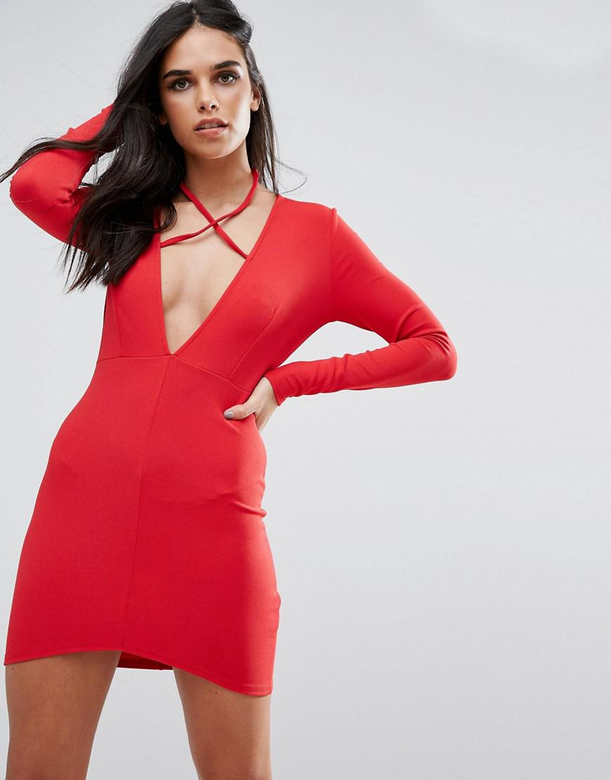 1220c157b9 Lyst - Missguided Red Tie Neck Plunge Long Sleeve Bodycon Dress in Red