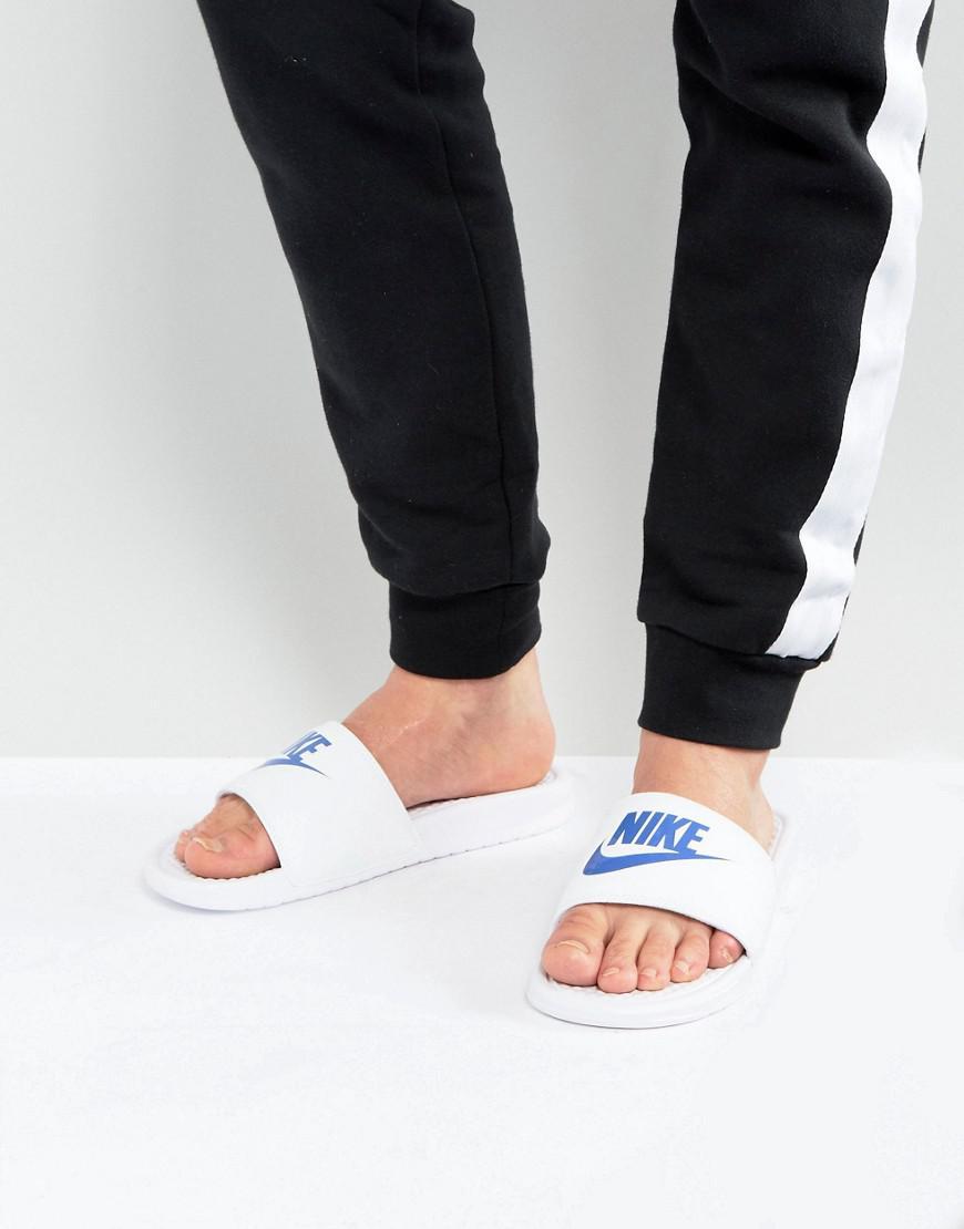 detailed look 12dd8 83c4f Nike Benassi Jdi Sliders In White 343880-102 in White for Men - Save 13% -  Lyst