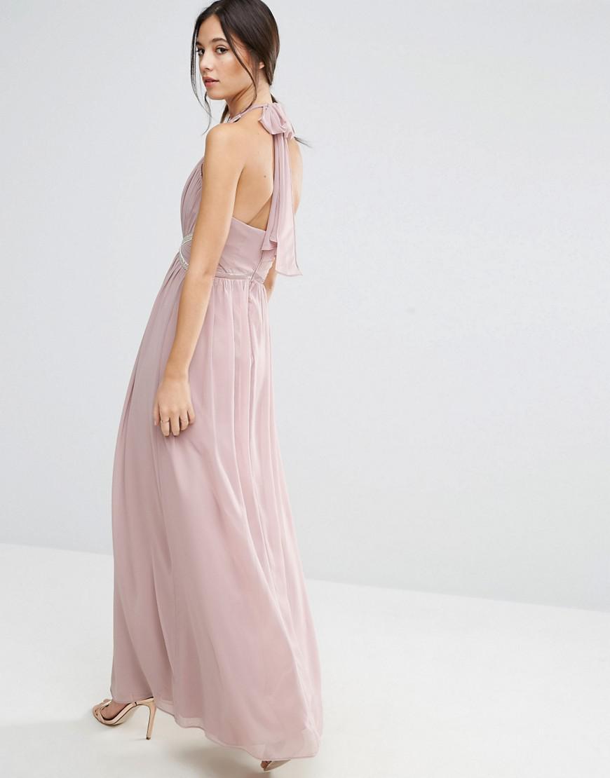 1295c6d6d220 Lyst - Robe longue dos nu avec taille ornée Liquorish en coloris Rose