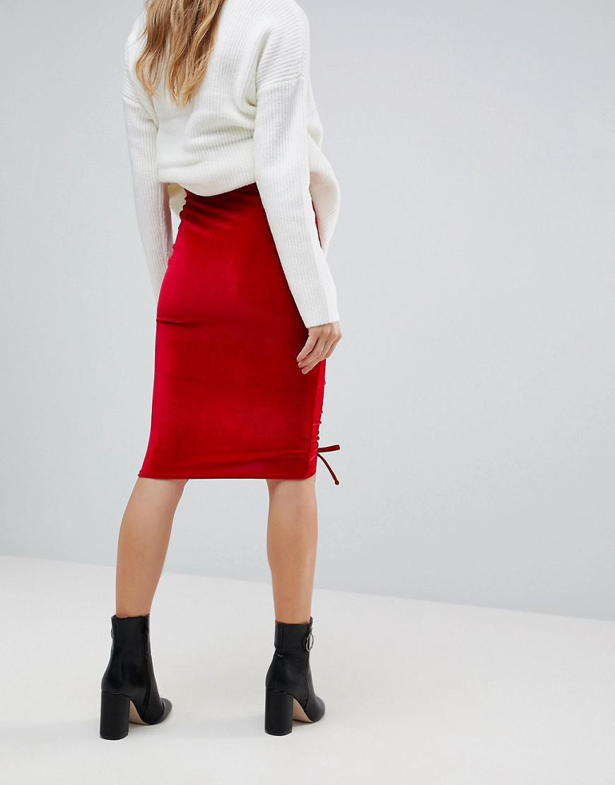 ef76131ee6d4 Lyst - Miss Selfridge Ruched Velvet Midi Skirt in Red