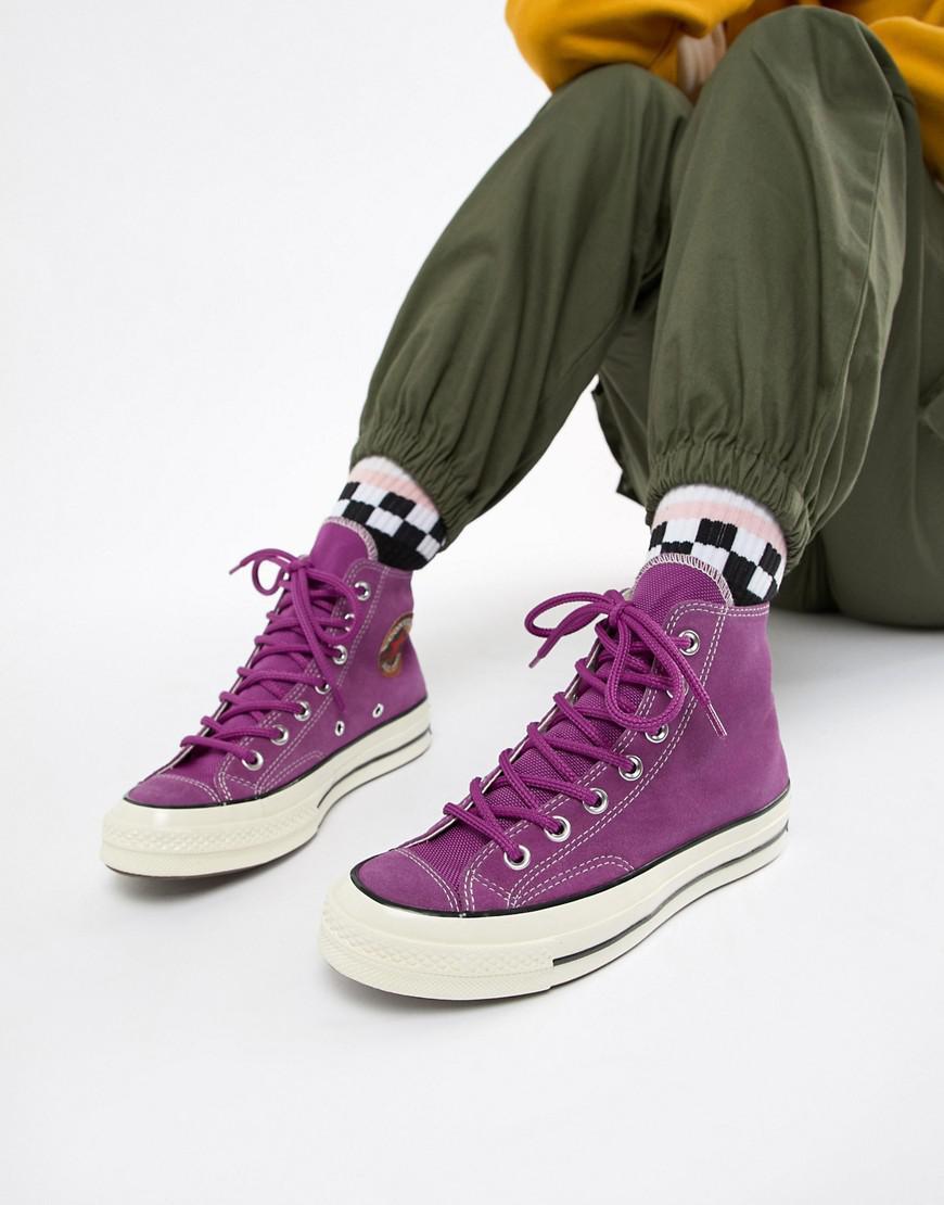 Lyst - Converse Chuck 70 Base Camp Hi Suede Purple Sneakers in Purple b628b3238