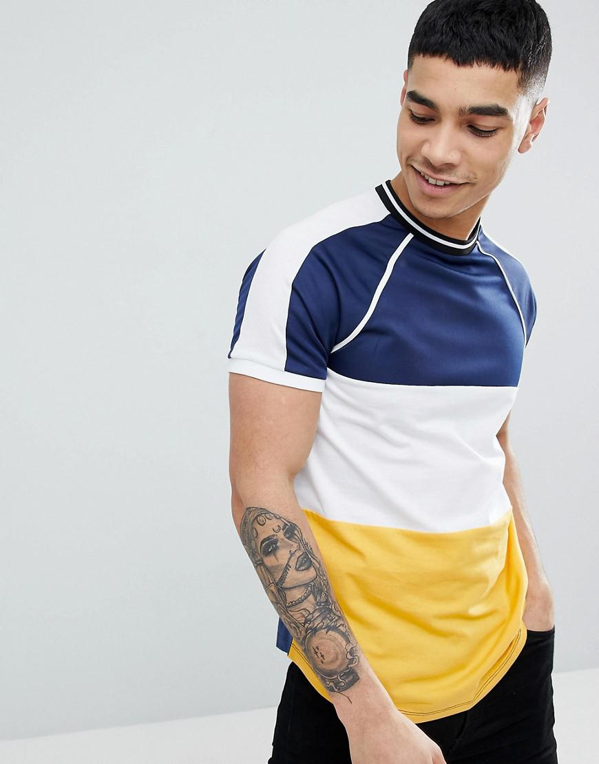 Classic Sale Online Marketable Sale Online DESIGN muscle raglan t-shirt with contrast colour block and tipping in black - Black Asos deuF78Dfsu