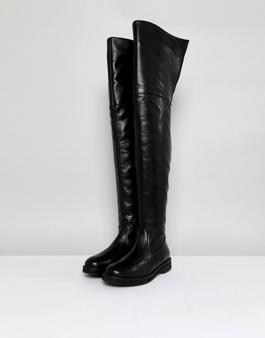 Lyst Mango Leder Flat Knee High in Boot in High schwarz 30560a