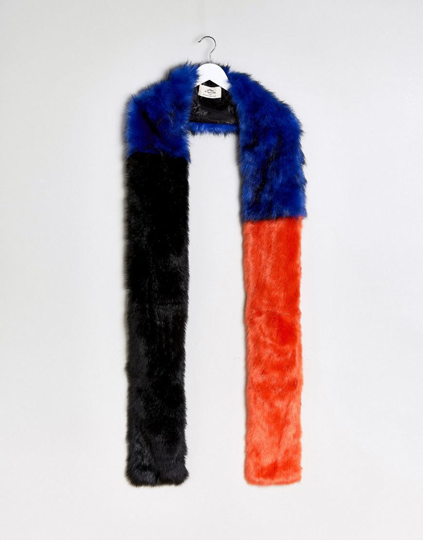 c822e045fc9c1 Urbancode Extra Long Color Block Faux Fur Scarf in Blue - Lyst