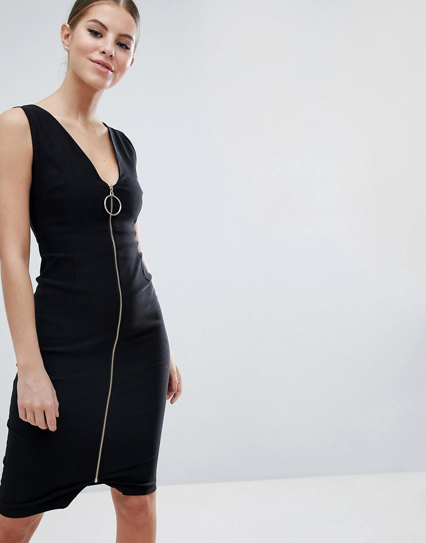 Zip Through Midi Pencil Dress With Ring Detail - Black Vesper eCfi6HO5j