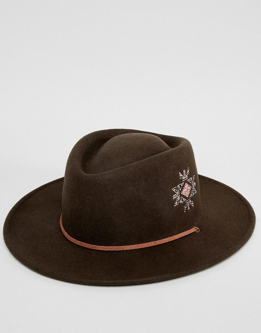 fb04260cda02d ASOS Pork Pie Hat With Wide Brim With Embroidery And Strap Detail in Brown  for Men - Lyst