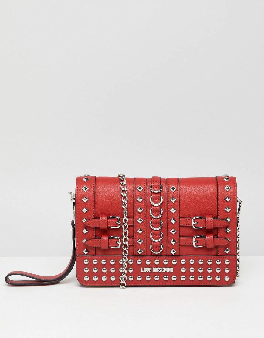 7873d2dbdc Lyst - Love Moschino Stud Detail Clutch With Chain Strap in Red