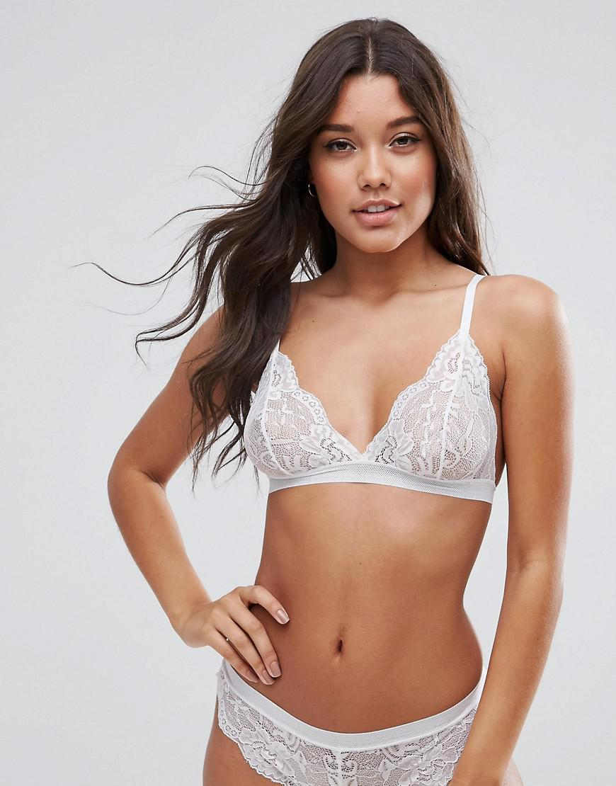dad79fb64ca ASOS Asos Ruby Mix   Match Picot Trim Lace Triangle Bra in White - Lyst