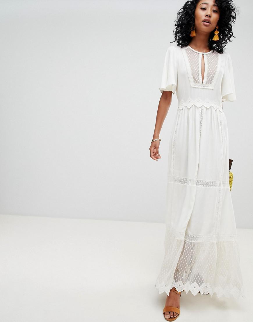 028115f9ea7 Boho Lace White Maxi Dress