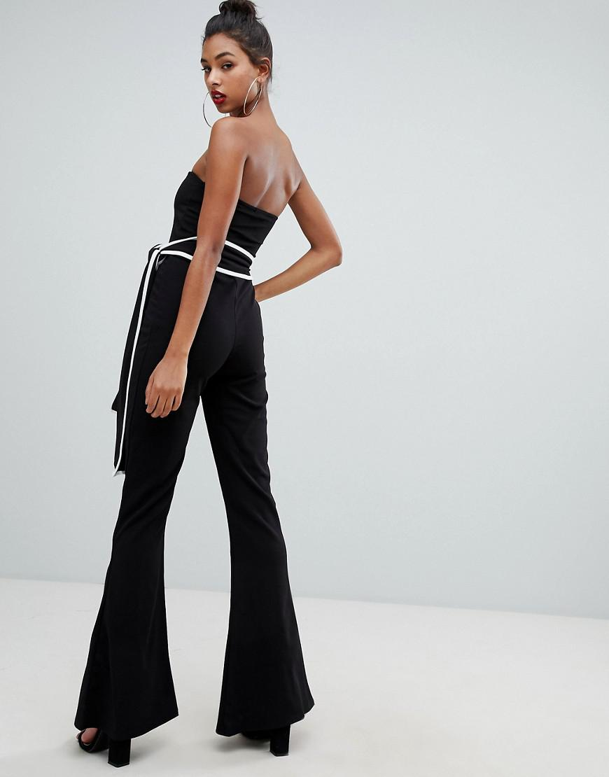 55d6d7927ef5 Lyst - PrettyLittleThing Bandeau Tie Waist Jumpsuit In Black in Black