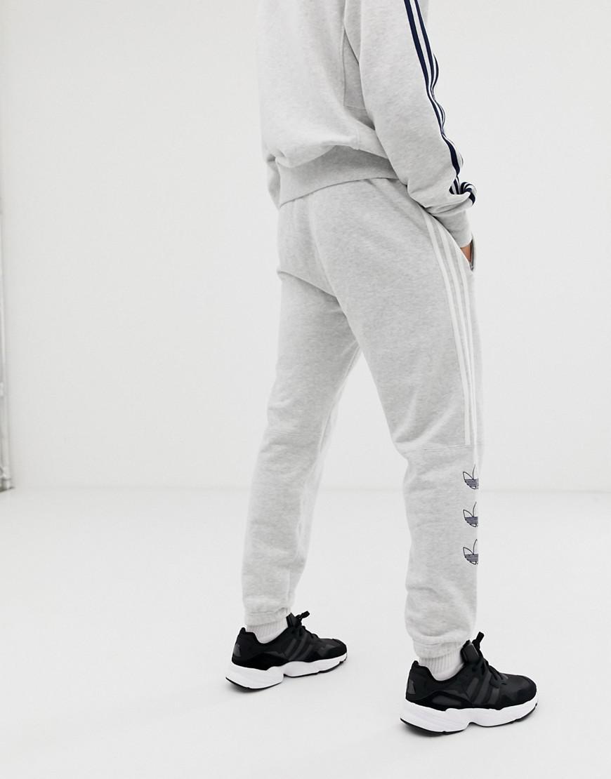 8ef3fd92f15 Lyst - adidas Originals Trefoil Stripe Sweatpants Dv3150 Gray in Gray for  Men