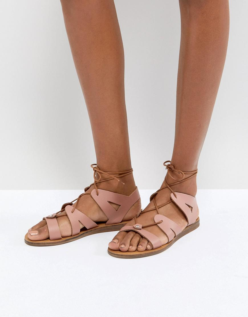 Saffy Rose Gold Leather Gladiator Lace Up Sandals - Rose gold Office