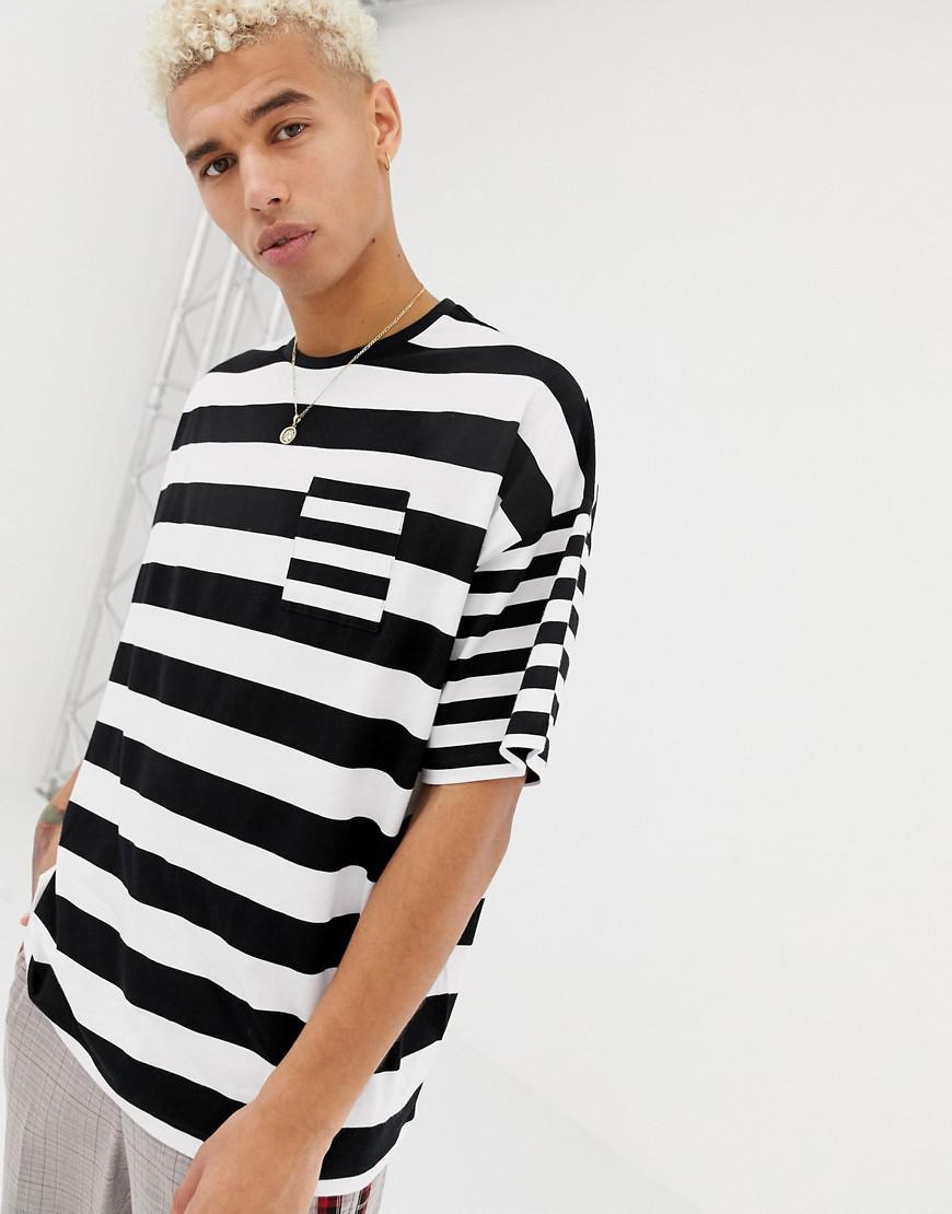 974b78ef69 ASOS - Black Oversized Striped T-shirt With Contrast Stripe Chest Pocket  for Men -. View fullscreen