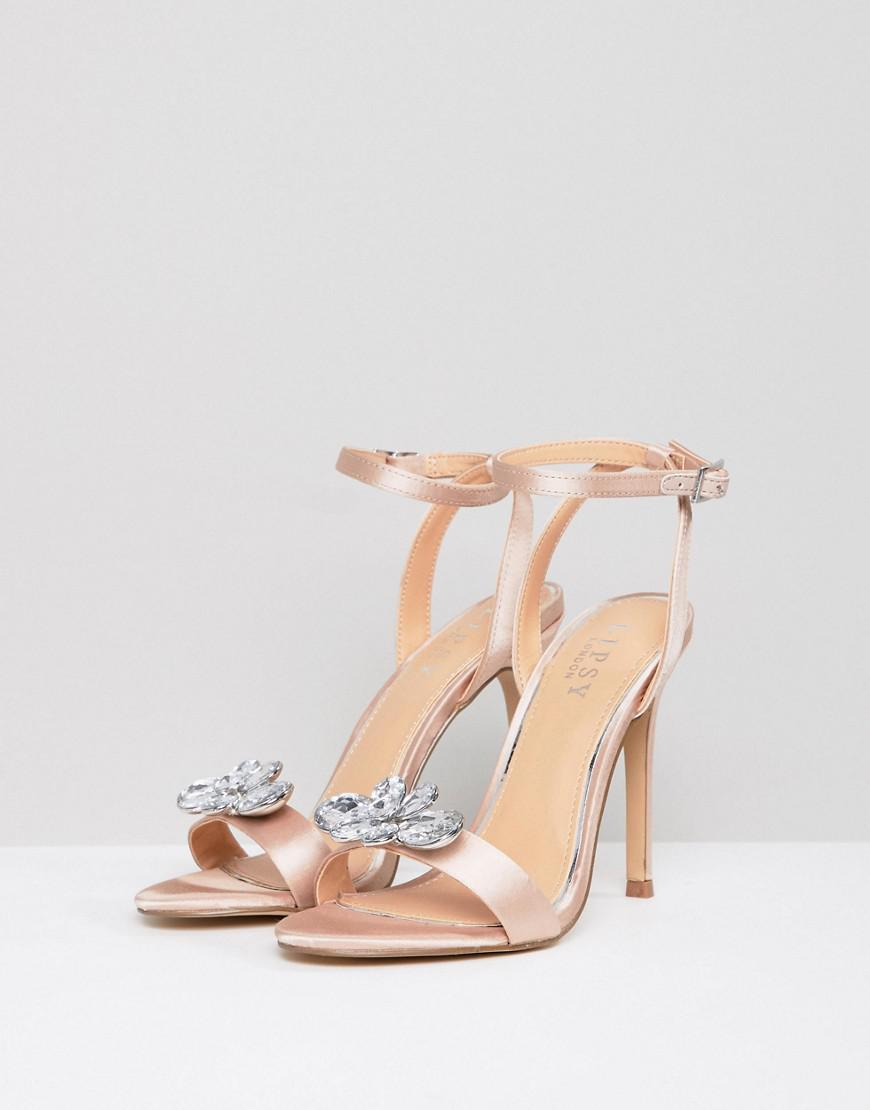 c28b4a0ae4d1 Lipsy Barely There Heeled Sandal With Embellishment in Pink - Lyst