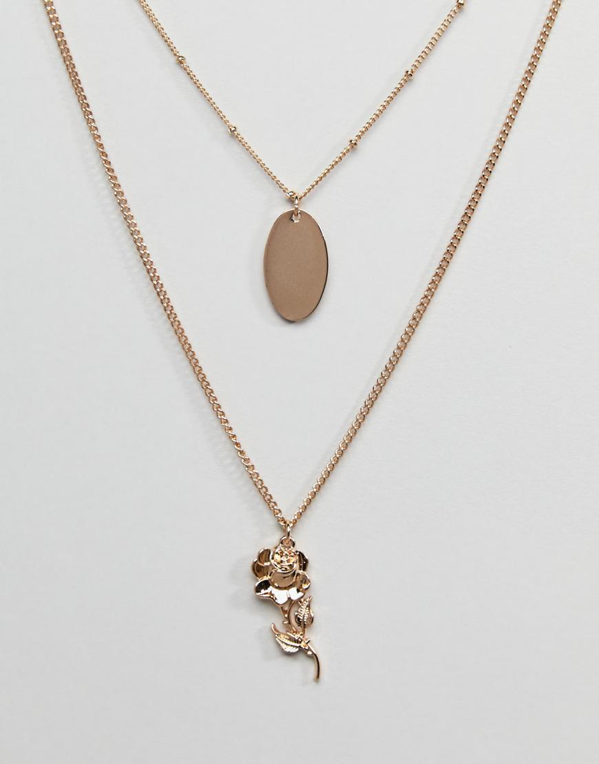 DESIGN Vintage Style Rose And Cross Pendant Multirow Necklace - Gold Asos iTm5edTbuG