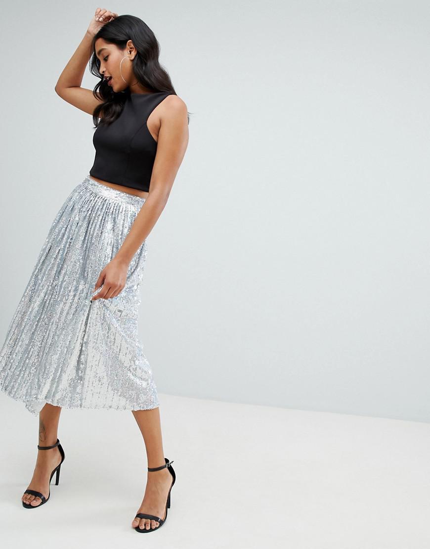 868baff7b4 Lyst - TFNC London Sequin Pleated Midaxi Skirt In Silver in Metallic
