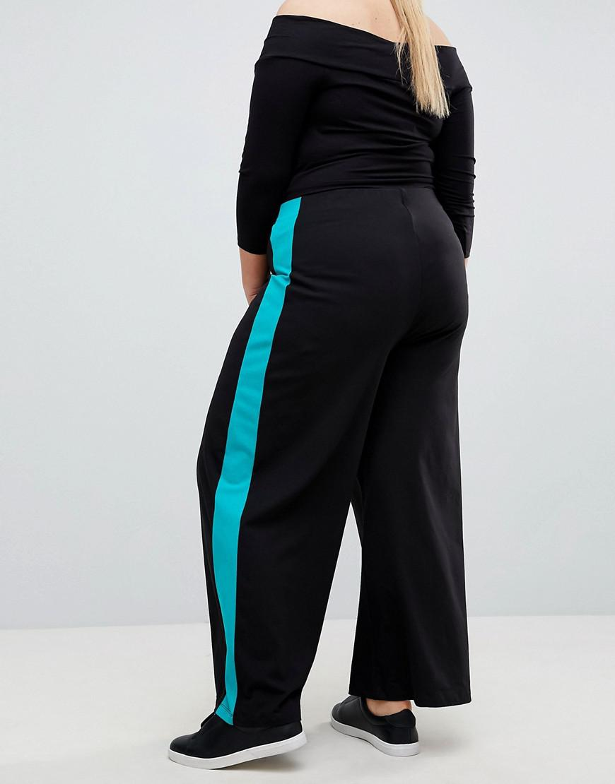 bd653b043cf0 Lyst - ASOS Asos Design Curve Wide Leg Pants With Contrast Side Stripe in  Black