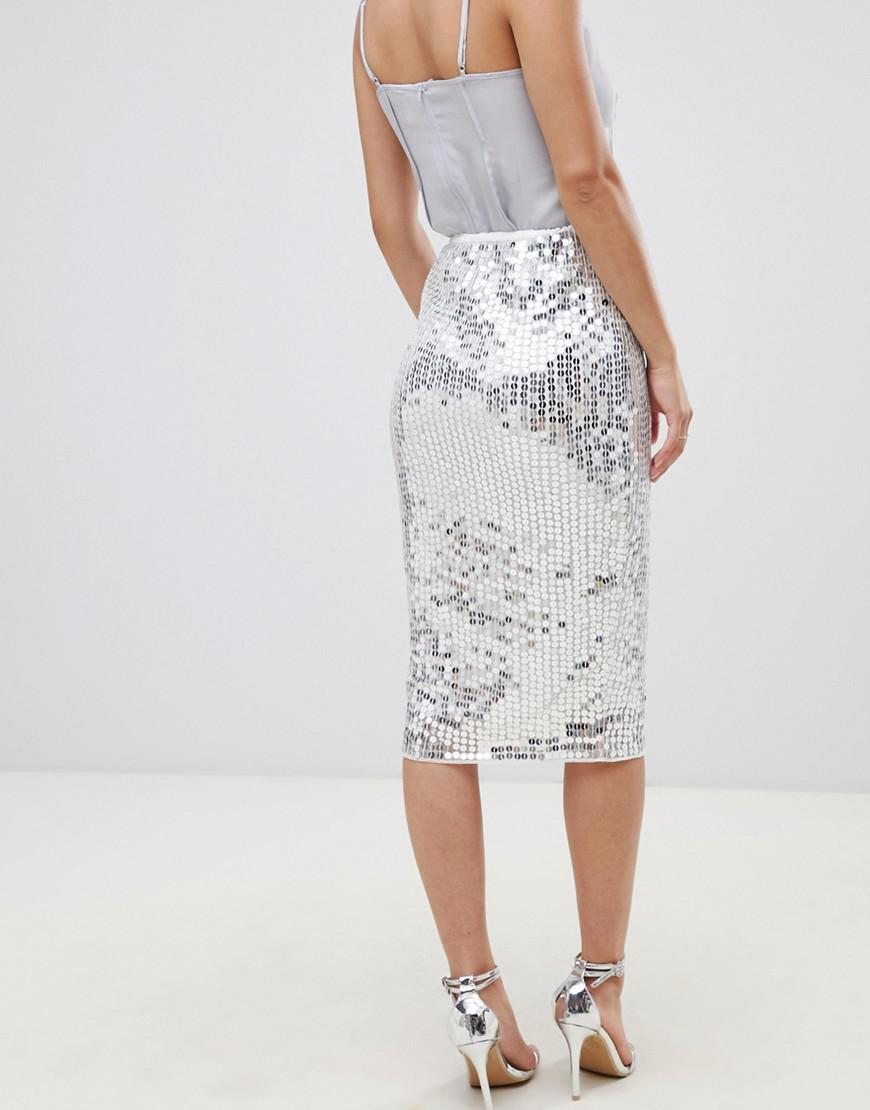 bd48f310e35 Lyst - ASOS Asos Design Petite Midi Sequin Tube Skirt in Metallic