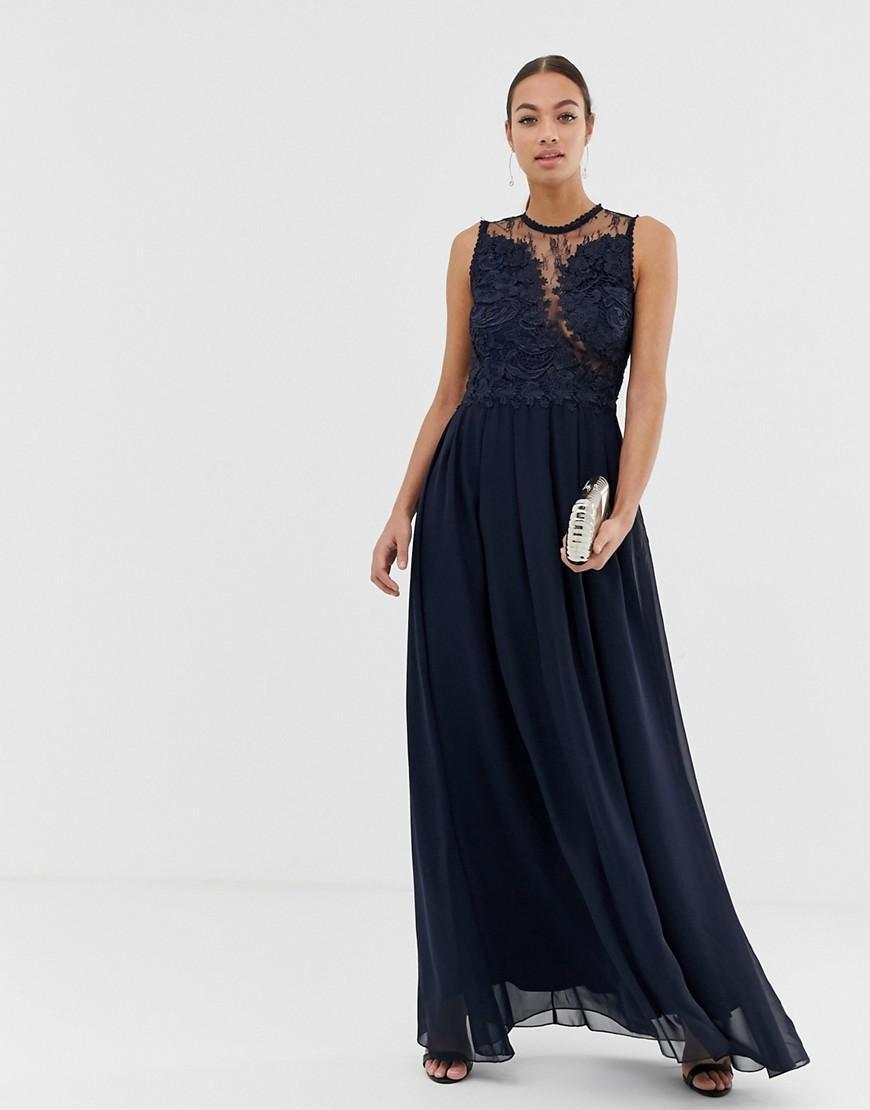 3f489ab23cc5b AX Paris High Neck Maxi Dress in Blue - Lyst