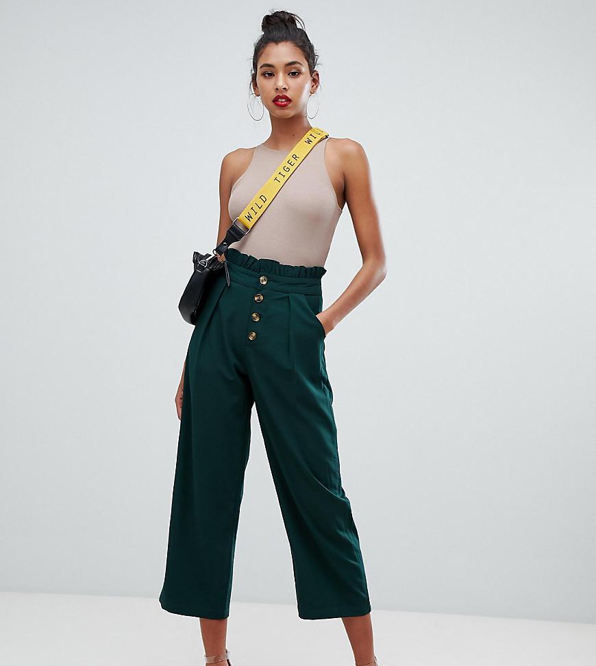 96026342c7c Boohoo Paper Bag Waist Culotte In Green in Green - Lyst