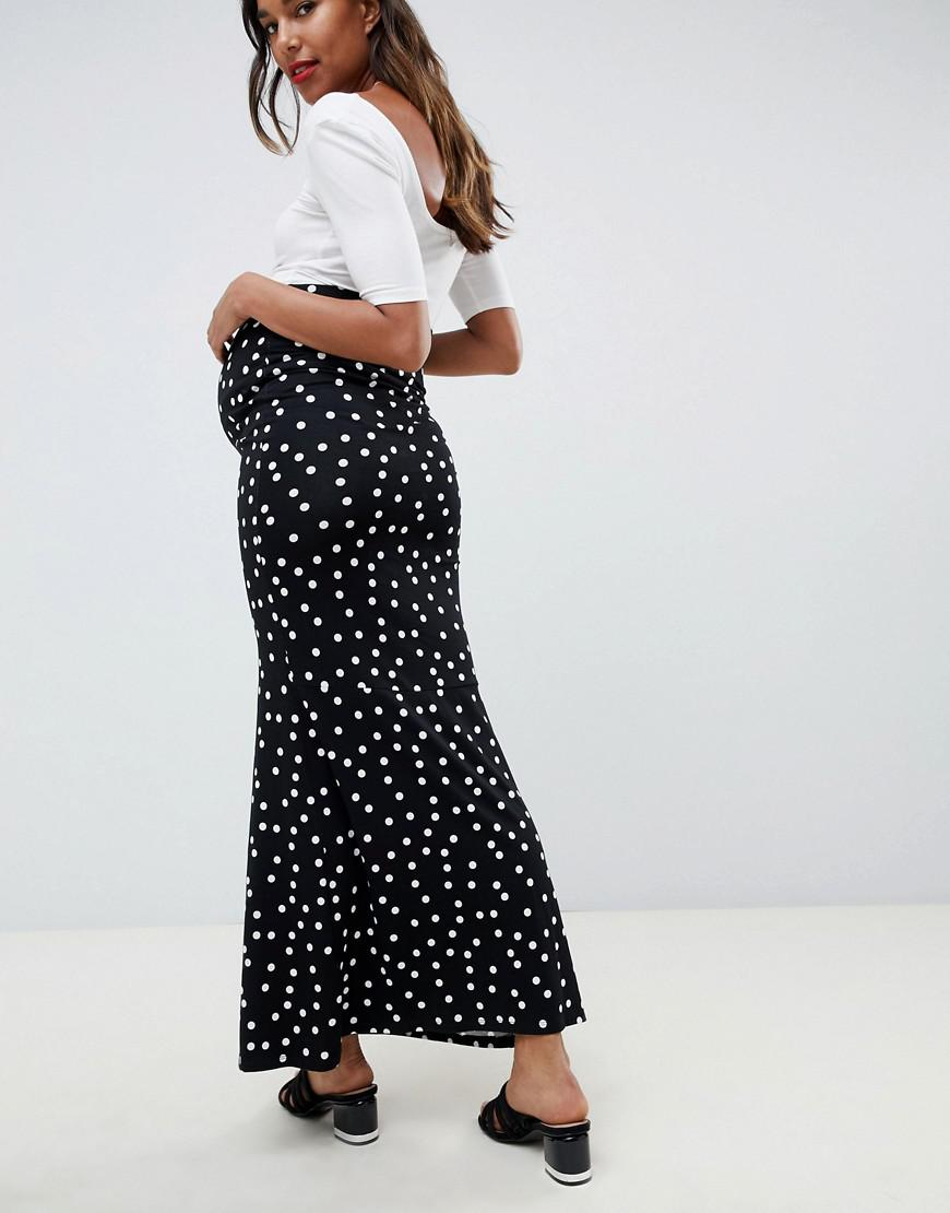 a6a2c8794563 ASOS Asos Design Maternity Maxi Skirt With Buttons And Split In Polka Dot  in Black - Lyst