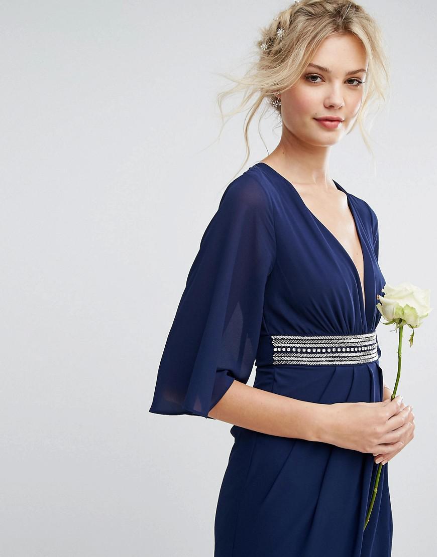 9087322b47d Tfnc Tall Wedding Wrap Midi Dress With Bow Back - Gomes Weine AG