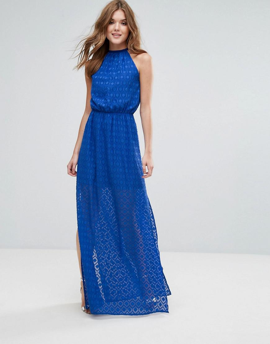 Halterneck Pleated Maxi Dress - Blue Lavand Low Price Online ZqB98gm4