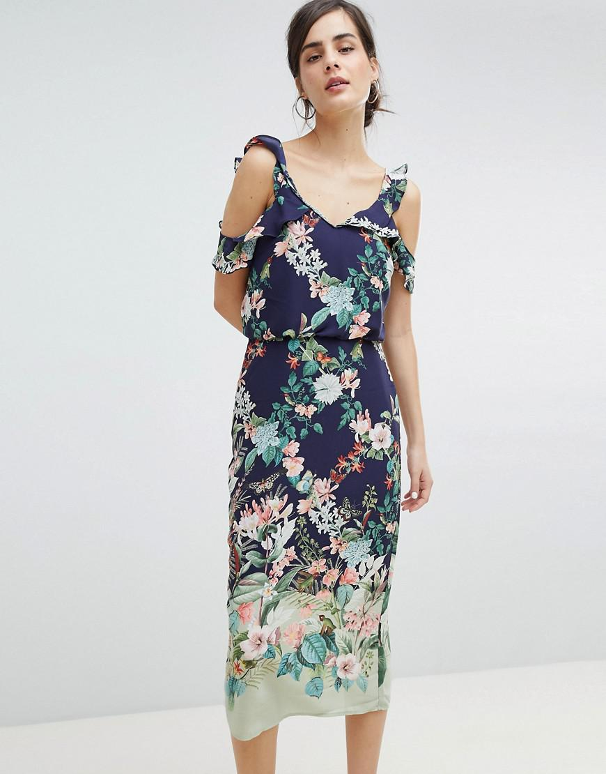 c8de61b244 Lyst - Oasis Fitzwilliam Cold Shoulder Floral Print Midi Dress in Blue