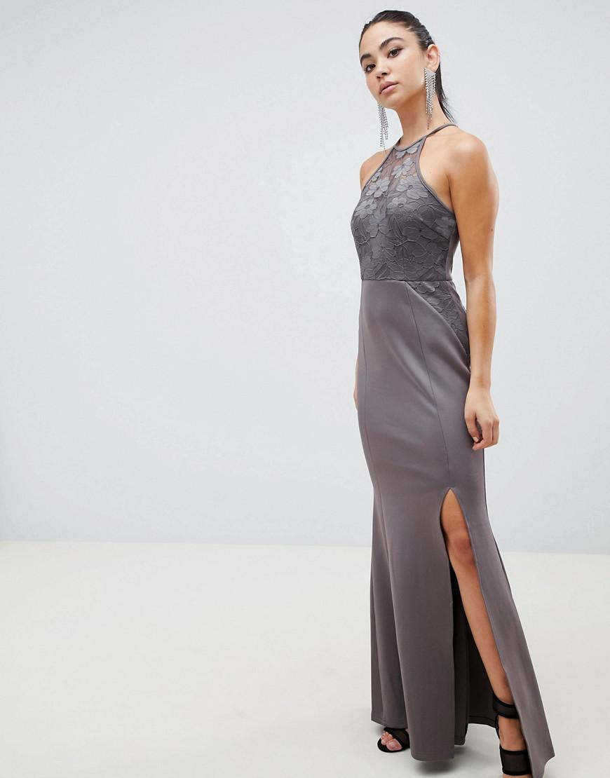 e9c76ee800 Lyst - AX Paris Racer Neck Maxi Dress With Lace Detail in Gray