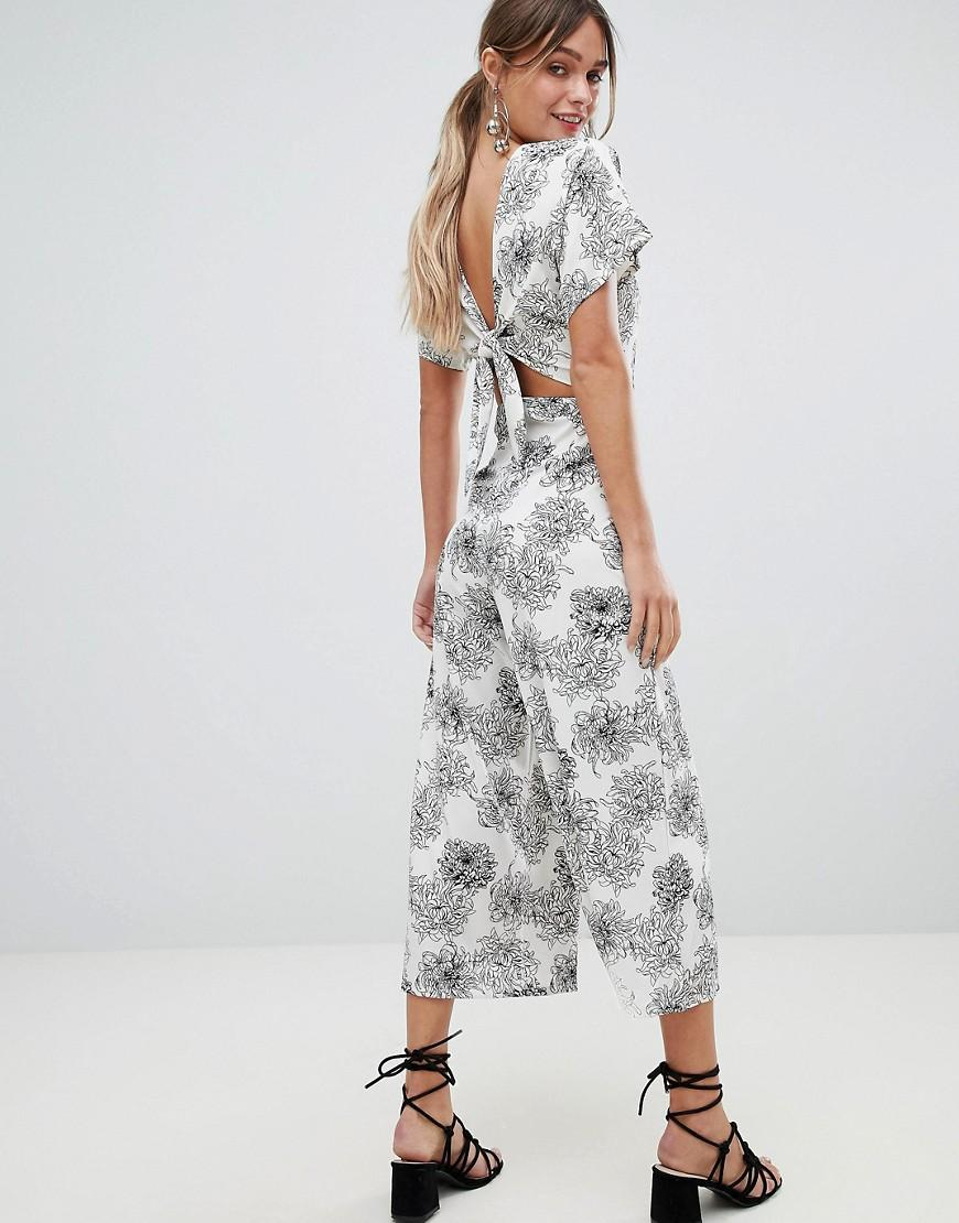 82874c08a4 Lyst - Boohoo Exclusive Tie Back Floral Jumpsuit in White