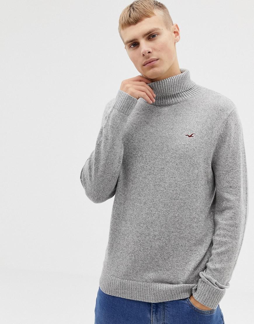 dde8d7f42dc Hollister. Men s Icon Logo Lightweight Knit Roll Neck Sweater In Light Gray