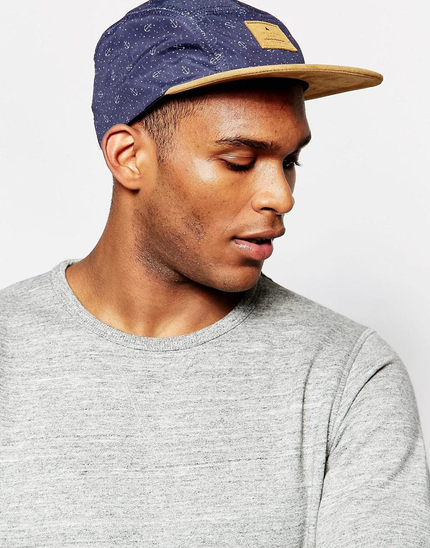 cf7205ced460d ASOS 5 Panel Cap With Anchor Print in Blue for Men - Lyst
