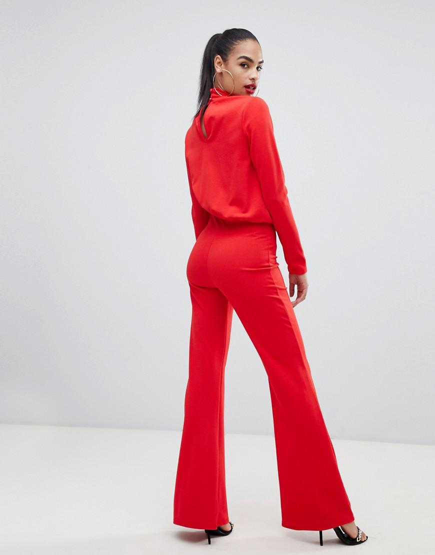 8c498605939f PrettyLittleThing Keyhole Cut Out Jumpsuit In Red in Red - Lyst