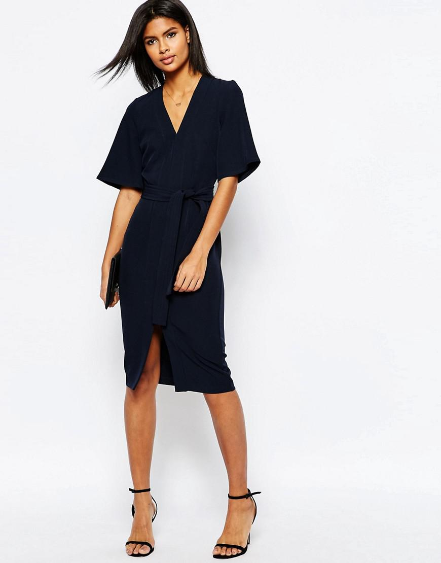 Lyst Asos Clean Obi Wrap Dress With V Front In Blue
