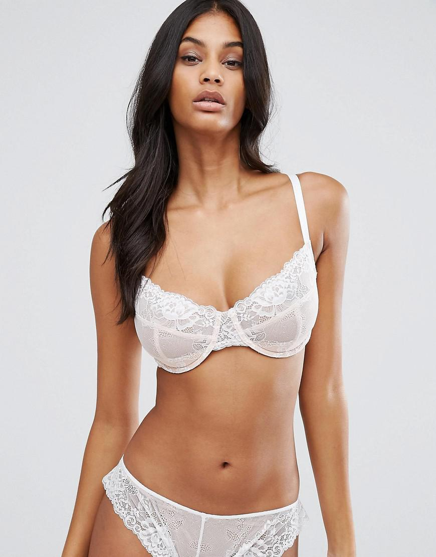 cd30aa47d Asos Fuller Bust Ria Basic Lace Mix   Match Underwire Bra in White ...