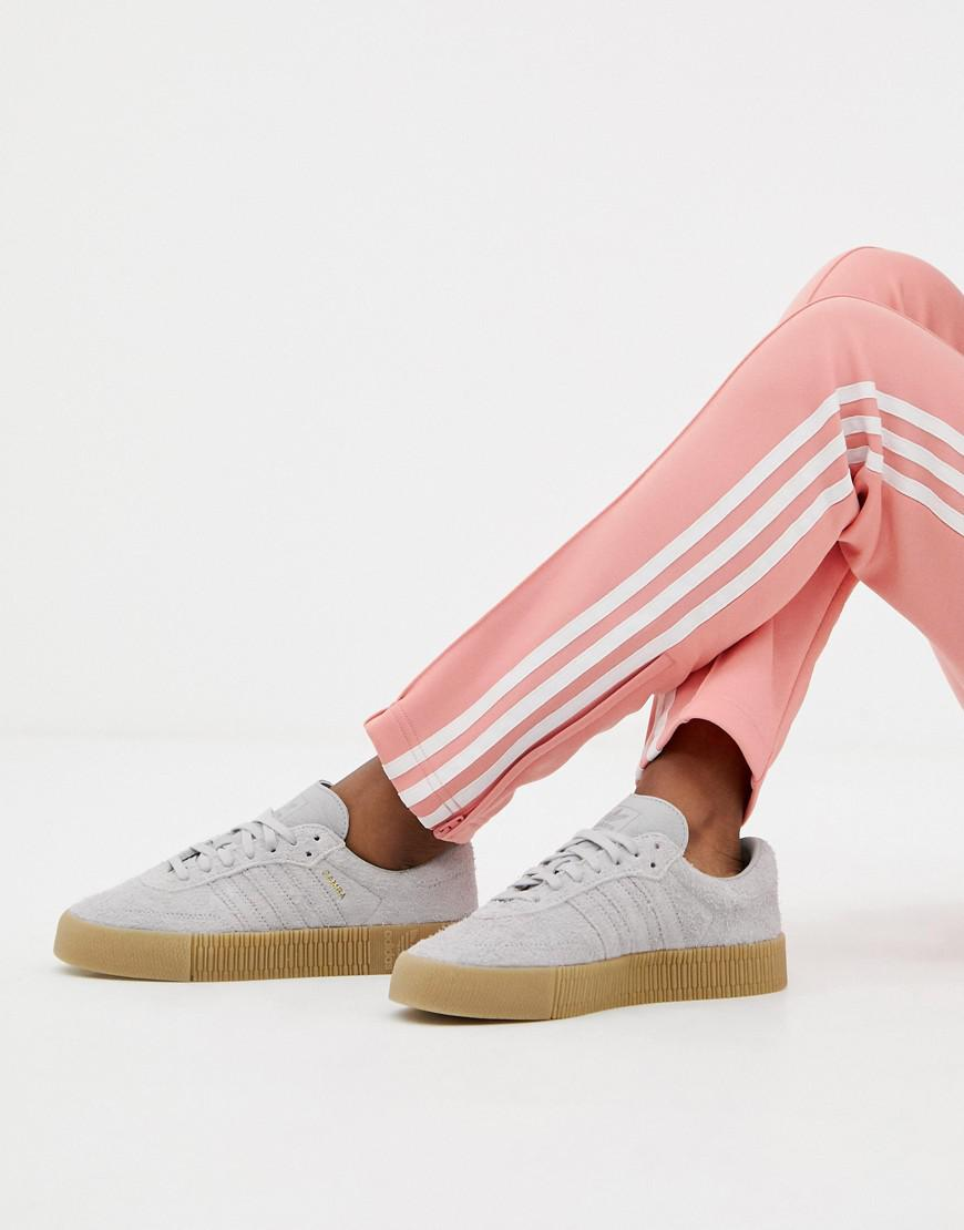 Lyst - adidas Originals Samba Rose Sneakers In Gray With Gum Sole in Gray 4c56320ff