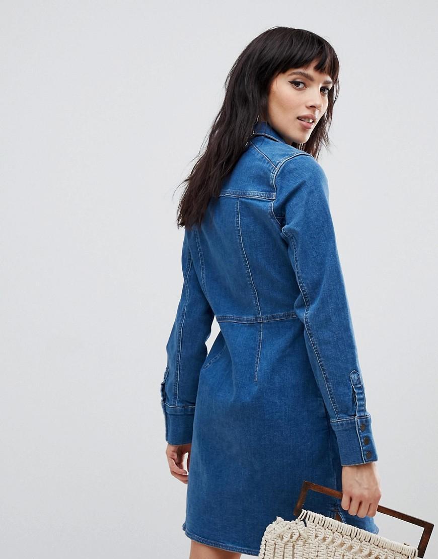 14092fc266 Free People Dynomite Denim Shirt Dress in Blue - Save 72% - Lyst
