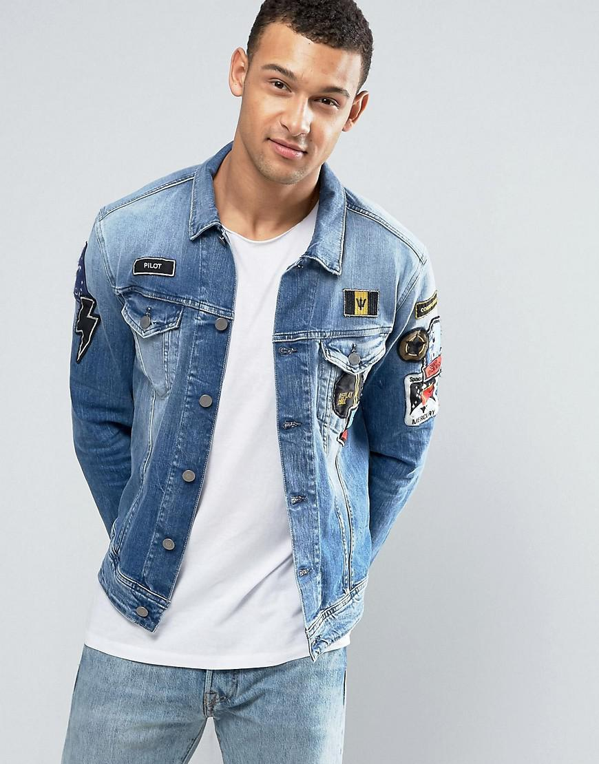2277d0f6e64 Lyst - Replay Denim Trucker Jacket With Badges in Blue for Men
