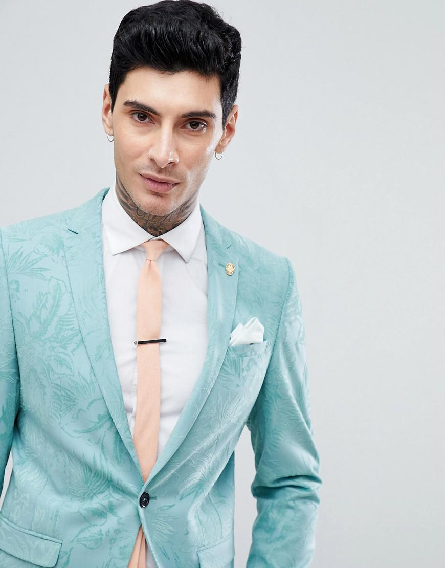 Lyst - Noose And Monkey Super Skinny Wedding Suit Jacket In Flocking ...